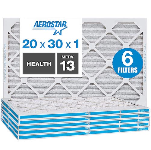 10.Aerostar 20x30x1 MERV 13 Pleated Air Filter, AC Furnace Air Filter, Captures Virus Particles, 6-Pack