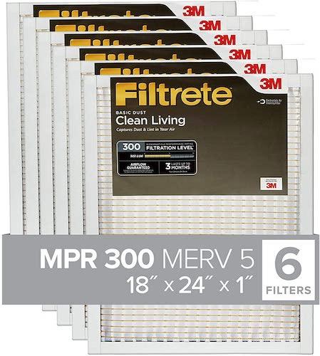 5.Filtrete 18x24x1, AC Furnace Air Filter, MPR 300, Clean Living Basic Dust, 6-Pack (exact dimensions 17.81 x 23.81 x 0.81)