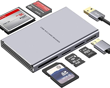 4. SD Card Reader, GIKERSY 5 in 1 USB 3.0 Memory Card Reader Adapter 5Gbps Read 5 Cards Simultaneously