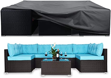 9. Extra Large Patio Furniture Set Cover, Heavy Duty Waterproof Outdoor Sectional Furniture Covers Tear Proof Dust Proof