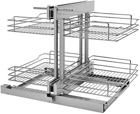 1. Rev-A-Shelf 5PSP-15-CR 15 Inch Chrome Blind Corner 4 Shelf Slide Out Kitchen Cabinet Organizer, Silver