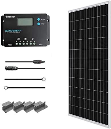 1. Renogy 100 Watts 12 Volts Monocrystalline Solar Starter Kit
