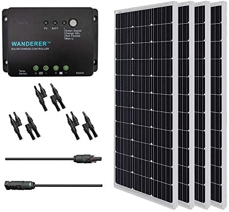 4. Renogy 400 Watt 12 Volt Monocrystalline Solar Starter Kit with Wanderer