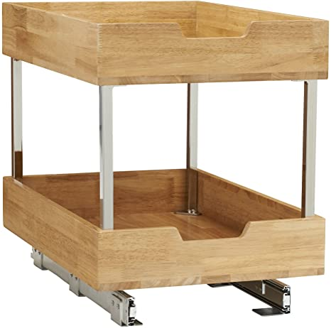 6. Household Essentials 24521-1 Glidez Bamboo 2-Tier Sliding Cabinet Organizer, 14.5