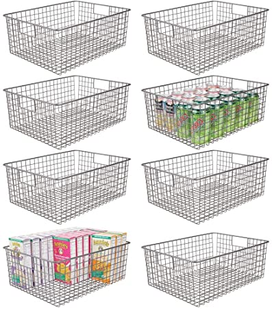 5. mDesign Farmhouse Decor Metal Wire Food Organizer Storage Bin Baskets with Handles for Kitchen Cabinets, Pantry, Bathroom, Laundry Room, Closets