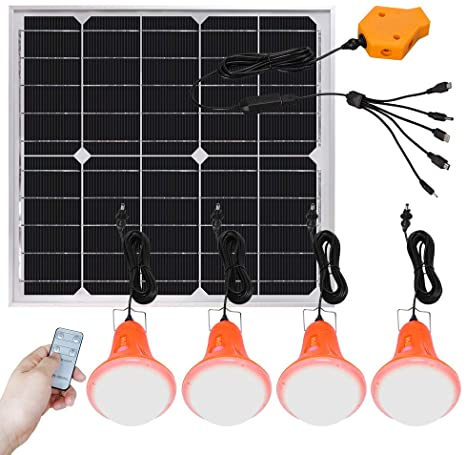 5. Roopure 20W Solar Panel Light Kit Off Grid Pendant Lights with Remote Control Solar Powered Shed Lights 4 LED Light Bulb