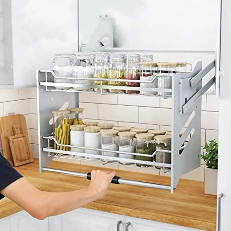 4. WHIFEA Pull-Down Dish Rack System Spice Rack Kitchen Shelf 2 Tier Upper Cabinet Pull-Out for Organizer (For Cabinet Width ≥36'')