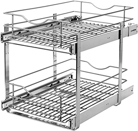 7. Knape & Vogt RS-DBLMUB-14-FN 14.625 in. W x 21.75 in. D x 16.25in. H Double Tier Pull Out Cabinet Organizer