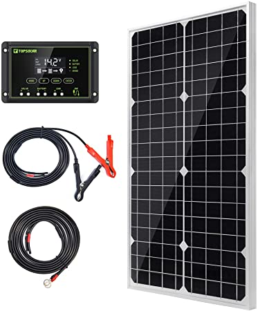 7. Topsolar Solar Panel Kit 30W 12V Monocrystalline Battery Charger Maintainer with 10A Charge Controller + Extension Cable