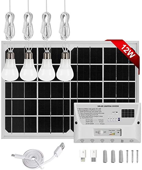 2. GVSHINE Solar Panel Kit, 9V 12W Portable Solar Panel RV Solar Panel Kit + 4 LED Bulbs