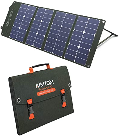 9. AIMTOM 80W Solar Panel for Power Stations, Solar Generators, Phones, Camera, GPS and Laptops, SolarPal 80 Foldable Solar Charger