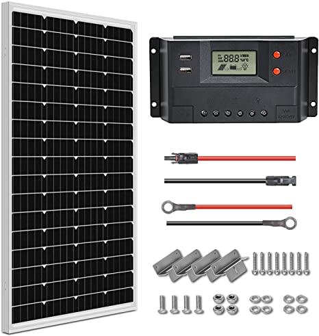 3. WEIZE 100 Watt 12 Volt Solar Panel Starter Kit, High Efficiency Monocrystalline PV Module for Home, Camping, Boat, Caravan, RV