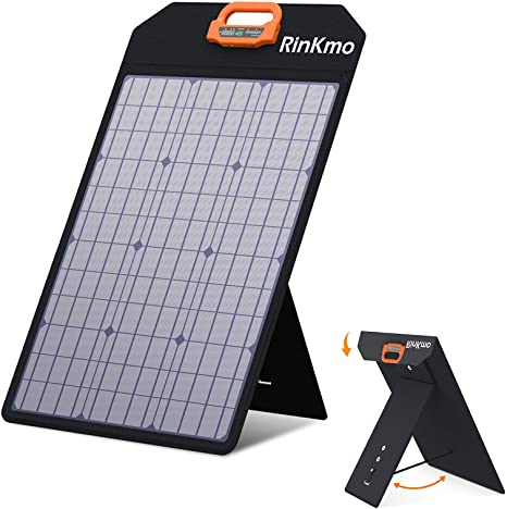 8. RINKMO 50W Solar Panel, Portable Solar Panels Battery Charger with Light Strength Sensor, Support 2-4 Parallel to Increase Power(200w Max)