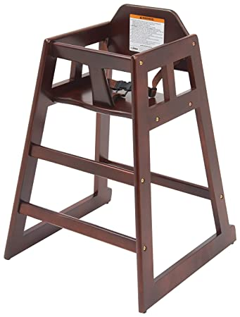 6. Winco CHH-103 Unassembled Wooden High Chair, Mahogany, Medium
