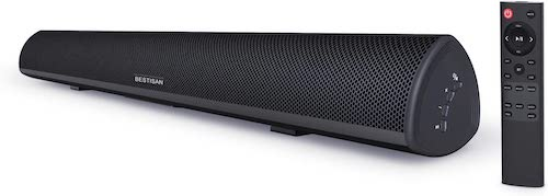 8.Sound Bar, Bestisan 80W Home Theater Soundbar System with IR Remote Function, Wired and Wireless Bluetooth 5.0 Audio Speaker