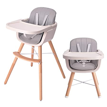 8. HAN-MM Baby High Chair with Removable Gray Tray, Wooden High Chair, Adjustable Legs, Harness, Feeding Baby High Chairs