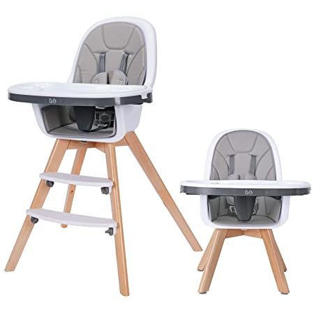 9. Tiny Dreny Extra Strong and Safe Baby high Chair, 3-in-1 Wooden High Chair with Removable Double Tray and Adjustable Legs