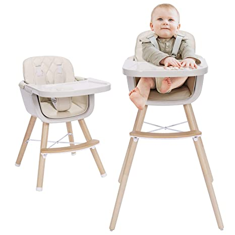 5. Mallify 3-in-1 Baby High Chair with Adjustable Legs, Dishwasher Safe Tray, Wooden High Chair
