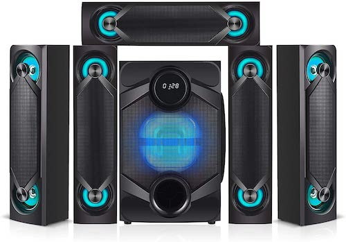 2.Nyne NHT5.1RGB 5.1 Channel Home Theatre System – Bluetooth, USB, SD, RCA Outputs Inputs, 8 Inch Active Subwoofer